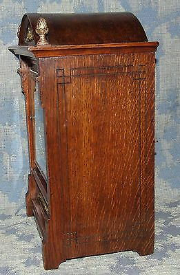 Antique Oak & Brass TING TANG Bracket Mantel Clock WINTERHALDER HOFFMEIER W & H 4