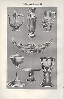 Licht-Druck 1909: GOLDSCHMIEDEKUNST. II/III. Gold Kunst-Handwerk 2
