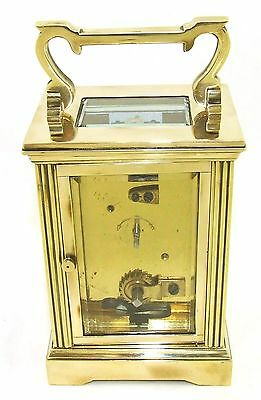 French Brass Carriage Clock with Bevelled Glass & Winding Key WORKING 9