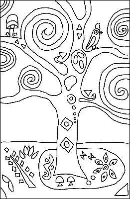 "Rug Hooking Pattern "" KLIMT TREE"" on natural linen 2"