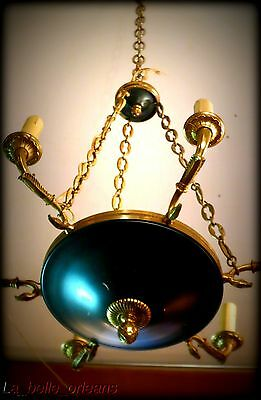 Charming Empire Tole And Brass Chandelier . 6 Arms / Snakes !!! 4
