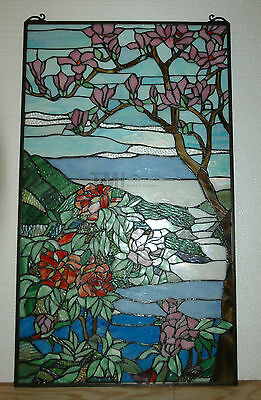 """20"""" x 34"""" Tiffany Style stained glass Jeweled window panel Cherry Blossom 12"""