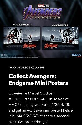 "AVENGERS ENDGAME AMC IMAX EXCLUSIVE POSTER 11"" x 15.5"" Week 1 & 2 Poster Set 4"