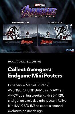 AVENGERS ENDGAME AMC IMAX Exclusive   Week 1 Poster & Bonus Solo Mini Poster 4