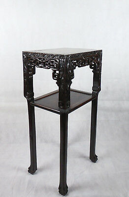 Chinese Hardwood Incense Table Marble Inset Qing Dynasty 19th C 8