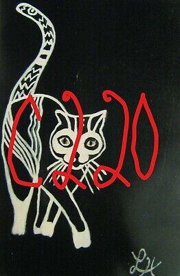 "C439        Original Acrylic Painting By Ljh    ""Vader""    Black Cat 4"