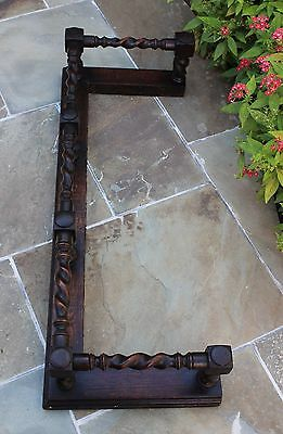 Antique English Oak Barley Twist Fireplace Fender Hearth Surround 12