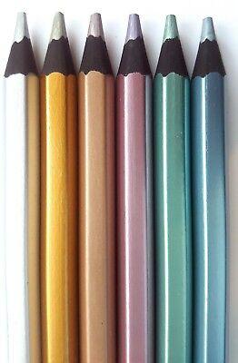 6 Blackwood Metallic Jumbo Colouring Coloured Pencils 3