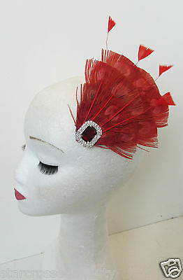 Red Peacock Feather Vintage Fascinator 1920s 1940s Races Hair Clip Art Deco P62 2