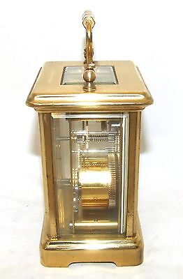 French Brass Carriage Clock with Bevelled Glass & Winding Key : LONDON CLOCK Co