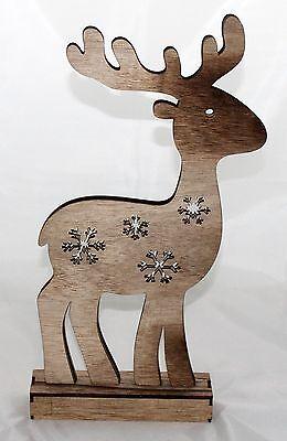 Weihnachtsbeleuchtung Rentier Beweglich.Beleuchtetes Rentier Deko Elch Hirsch Led 26cm Holz Aufsteller Xmas Landhaus