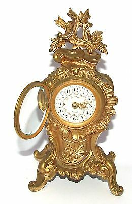 Antique Rococo Gilt Bronze Miniature Bracket Mantel Clock CLEANED & SERVICED