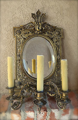 Antique French Brass Wall Sconce Light Fixture Beveled Oval Mirror Art Nouveau 2