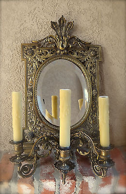 Antique French Brass Wall Sconce Light Fixture w Oval Mirror Louis XV 2