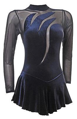 Ice Skating Dress-BLACK SMOOTH VELVET / BLK POWERNET Long Sleeves  (S104)