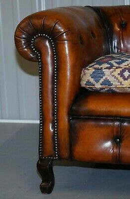 1 Of 2 Restored Victorian Gentleman's Club Chesterfield Leather Sofas Kilim Seat 8