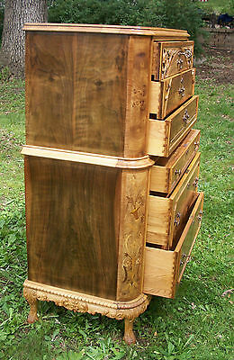 Marquetry Antique Furniture Highboy Chest Drawers Dresser French Provincial 12
