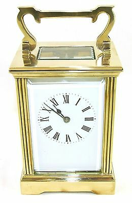 French Brass Carriage Clock with Bevelled Glass & Winding Key WORKING 3