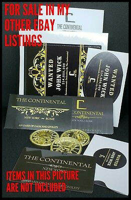 The Continental Hotel John Wick Business Card Gold Liquid Metal Pop Reeves Coin  3