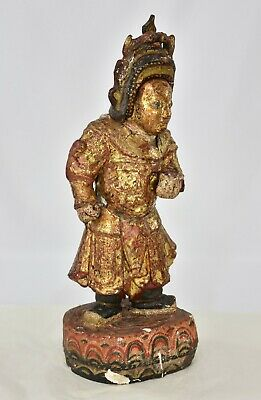 Antique Chinese Red & Gilt / Gilded Wooden Carved Statue, 19th c 5