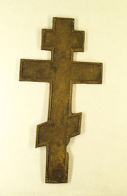 Antique Russian Brass  Enamel Crucifix Cross 2