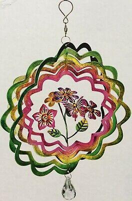 Windspiel Blume des Lebens NEU  tolle Dreheffekte aus Metall in silberfarben