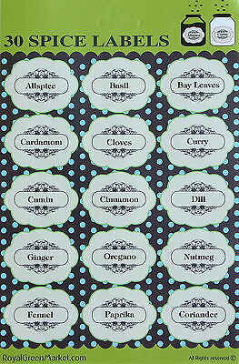 spice labels decorative for jars bottles easy to stick permanent