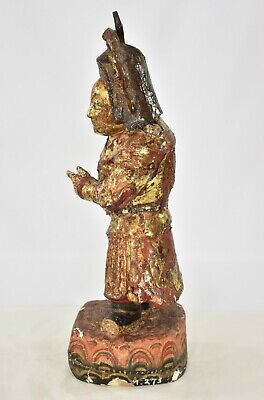 Antique Chinese Red & Gilt / Gilded Wooden Carved Statue, 19th c 7