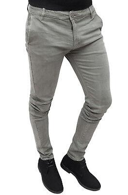 data di rilascio 56cd7 210ff PANTALONI UOMO CASUAL Invernali Grigio Slim Fit Jeans Chino ...