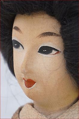 Japanese Geisha Doll Silk Gold Silver Metallic Thread Kimono 2