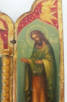 Antique 19th C Russian Hand Painted Wood Icon Triptych (Deesis Row) 8