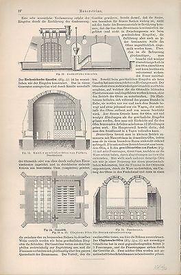 4-seitiger Druck 1896 MAUERSTEINE. ZIEGELEI-TONWAREN-FABRIKATION Maschinen 2