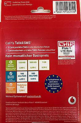 Callya Sim Karte.Vodafone Callya Sim Karte Prepaid Tarif Talk Und Sms Inkl 10 Eur Startguthaben