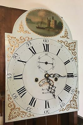Antique Mahogany Gesso Dial Longcase Grandfather AGAR MALTON : 5 PILLAR MOVEMENT