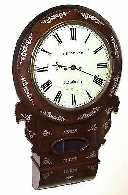Antique ROSEWOOD & Mother of Pearl TWIN Fusee Drop Dial Clock HAMMON MANCHESTER 3