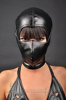Ledermaske Vegan mit Mundschutzmaske bdsm Leder Hood Kopfmaske Gimp mask bondage 2