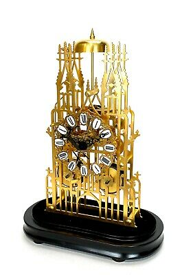 Large English Style Cathedral Crown Escapement Fusee Striking Skeleton Clock 3