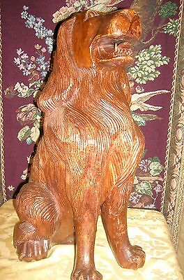 Antique Beautifully Carved and Detailed Mahogany Fireplace Dogs (2) 7