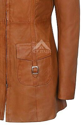 Ladies Leather Jacket Tan Gothic Style Fitted REAL LAMBSKIN COAT 1310 7