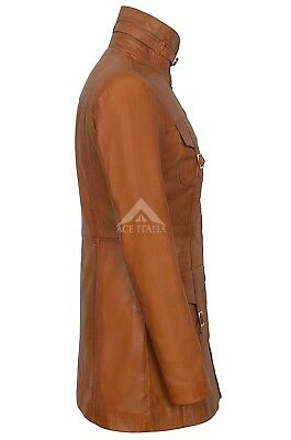 Ladies Leather Jacket Tan Gothic Style Fitted REAL LAMBSKIN COAT 1310 4