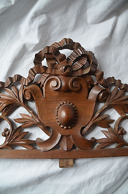 Antique French solid carved wooden pediment or fronton 3