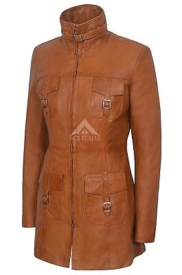 Ladies Leather Jacket Tan Gothic Style Fitted REAL LAMBSKIN COAT 1310 2