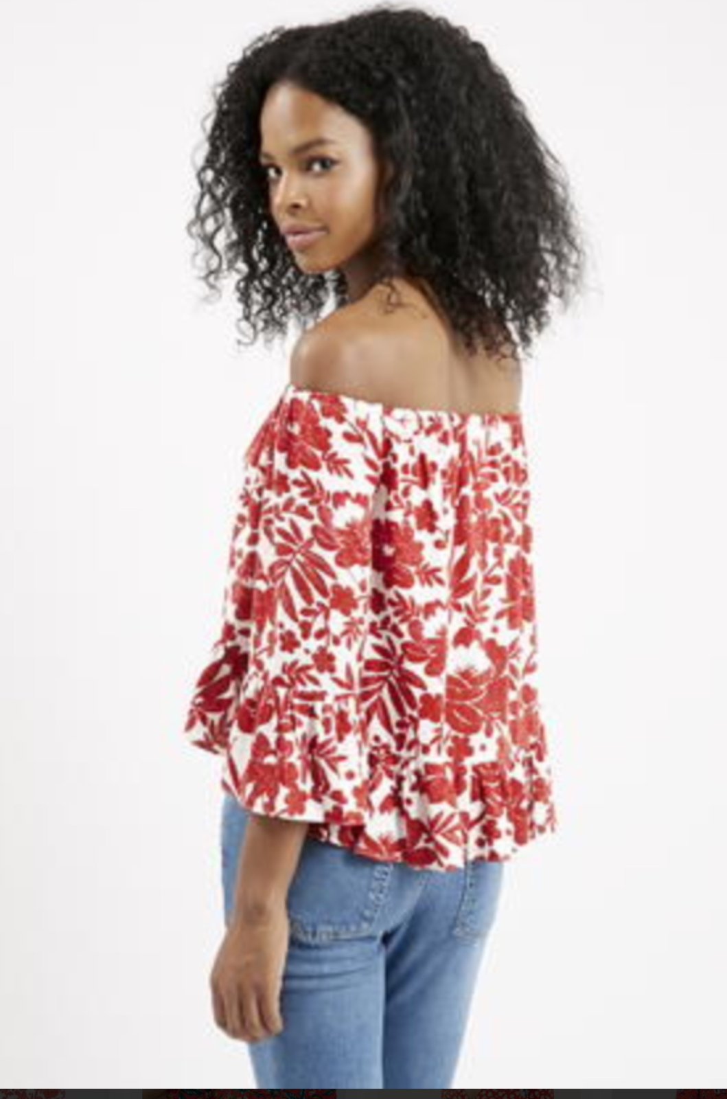 624b3fd9227c06 Topshop NWT Red Floral Bardot off the shoulder Top Size 4 US 2 2 of 4 See  More