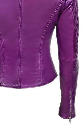New Real Design Leather Jacket Purple Nappa Biker Ladies Style Luxury FJTKc1l