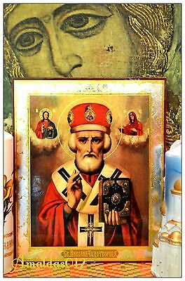St.Nicholas the Wonderworker Russian Orthodox Icon Silver Gold double embossing 7
