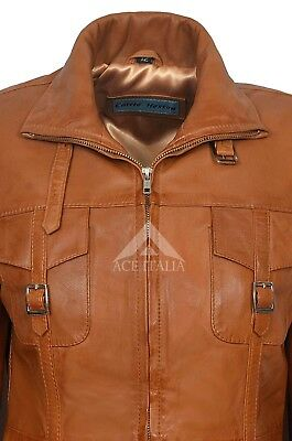 Ladies Leather Jacket Tan Gothic Style Fitted REAL LAMBSKIN COAT 1310 6