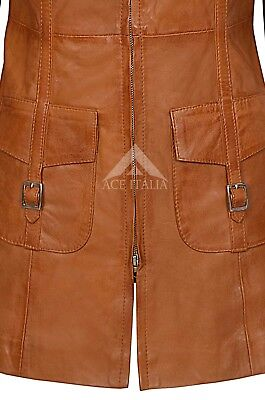 Ladies Leather Jacket Tan Gothic Style Fitted REAL LAMBSKIN COAT 1310 8