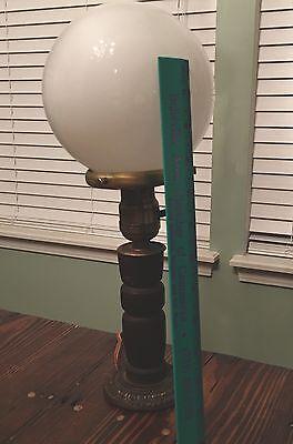 Wired Plugin Antique Wooden Table Lamp W/ Round Milk White Globe 5