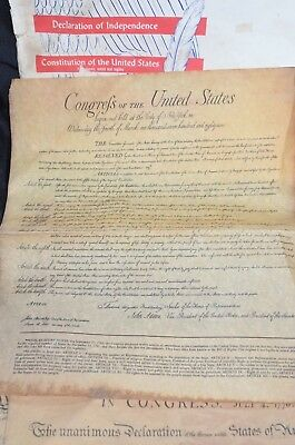 3 Documents Of Freedom on Parchment Paper Independence Hall PHIL Vintage 1956 7