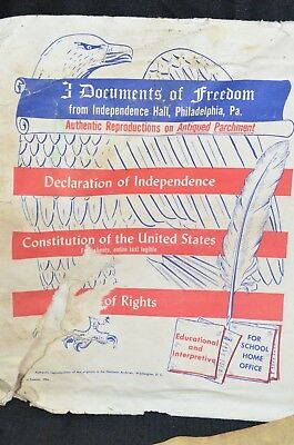 3 Documents Of Freedom on Parchment Paper Independence Hall PHIL Vintage 1956 3